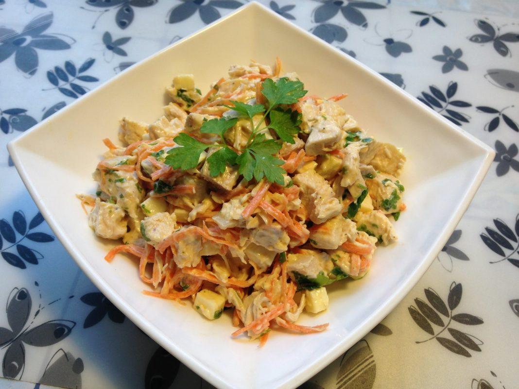 Салат с корейской морковкой и грибами рецепт с в