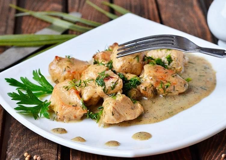 Индейка в сметанном соусе с грибным вкусом