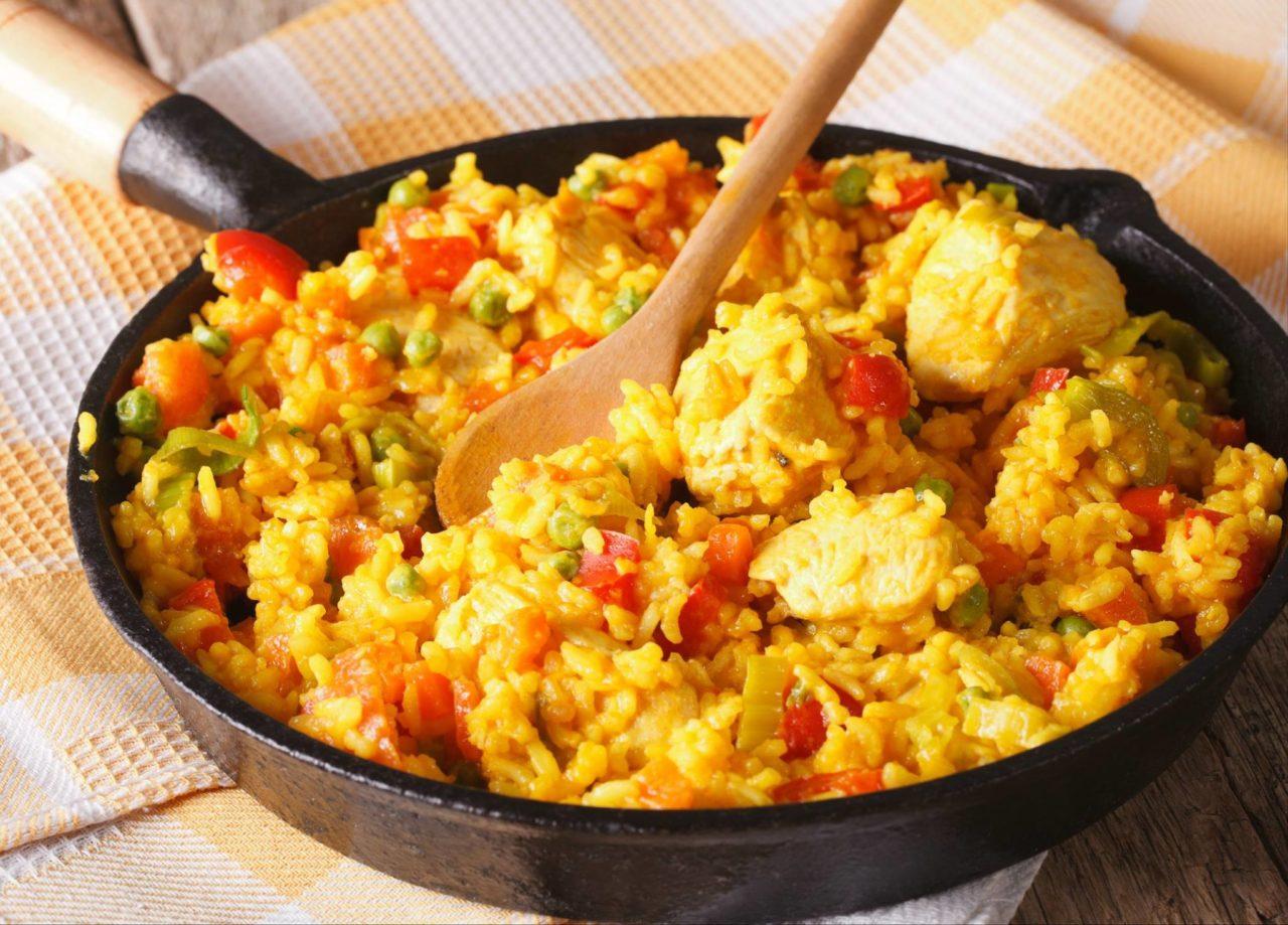 Рис с курицей на сковороде с овощами