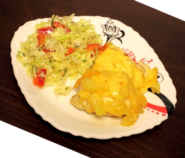 Курица с ананасами и сыром в мультиварке