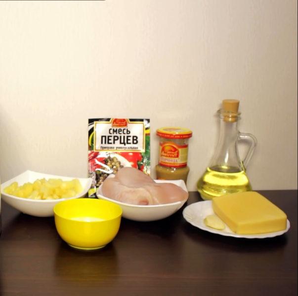 Продукты для курицы с ананасами и сыром для приготовления в мультиварке